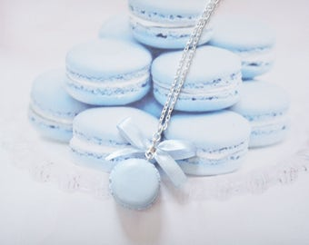 necklace blue macaron polymer clay