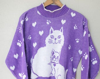 Purple cat sweater | Etsy
