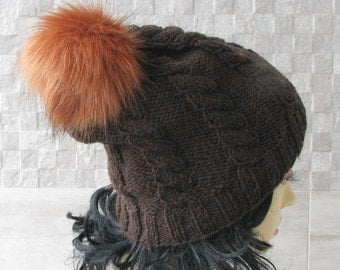 Knitted man hat with pom pom, knit  Mütze, Winter accessories Handmade with Love