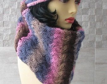 Knitted scarf infinity, cowl, neck warmer, loop, tube in Boho Style