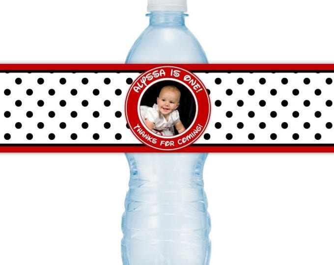1st Birthday Water Bottle Labels, Custom Red and Black Polka Dots Water Bottle Labels, First Birthday Photo Labels, you print, you cut, DIY