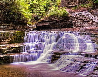 Robert H. Treman State Park Waterfall, Ithaca NY, Waterfall Photography, Waterfall Print, Waterfall Decor, Waterfall Art, Ithaca Photography