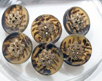 6 buttons with pattern 20mm, vintage buttons.
