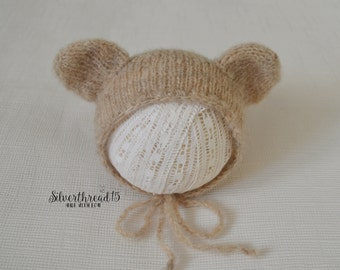 Teddy Bear Hat  for Baby and Toddlers - Hand Knit & Crochet Animal Beanie - Photo Prop - Mohair Baby Hat