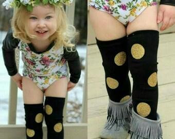 Baby Leg Warmers, Girls Leg Warmers, Black + Gold Birthday Outfit, Glitter Polka Dot Leg Warmers, Leggings, Toddler Leg Warmers, Liv & Co.™