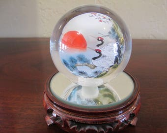 Artist Signed Vintage Japanese Reverse Painted Glass Ball Paperweight!!!