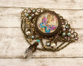 Hair barrette with key and butterfly Steampunk pearls hair jewelry antique gift idea for her girl hair jewelry