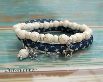 Bracelet set star ceramic blue nature