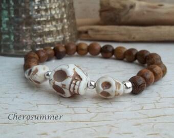 Wooden Bead Bracelet Brown skull for men
