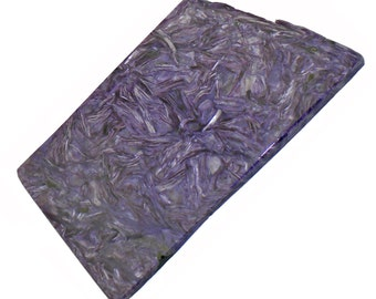 """Charoite slab 3.5"""" x 2"""" x 0.20"""" Rare and beautiful display piece! - CHA009"""