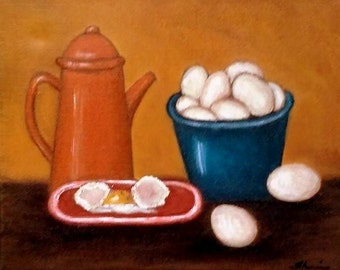 Coffee, Eggs, Breakfast, Kitchen Art, Kitchen Decor, Kitchen Painting, Breakfast Painting, Coffee Pot, Wall Hanging, Wall Art