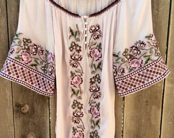 Beautiful Hand Embroidered Bohemian Peasant Blouse