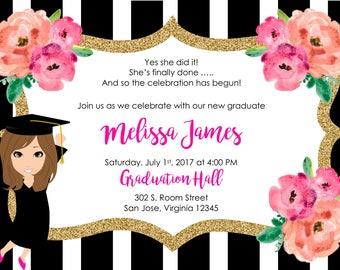 Black and White Stripe Graduation Invitation