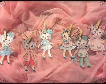 Betsy the Kitty Cat Kitten Paper Doll Garland Banner Bunting Shabby Chic Kitschy Kitsch Nursery Decor Birthday Paperdoll Party Decorations