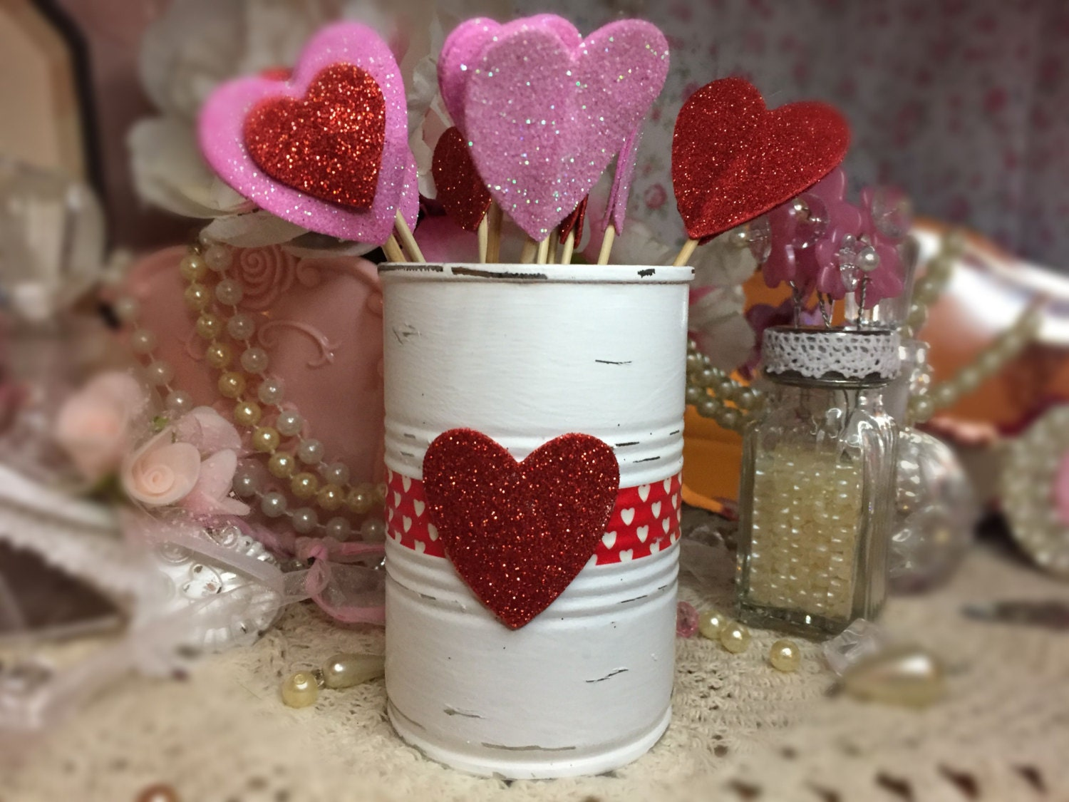 Valentines day decor white painted small tin can red