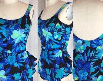 Vintage 1970's Blue Floral Print One-piece Swimsuit