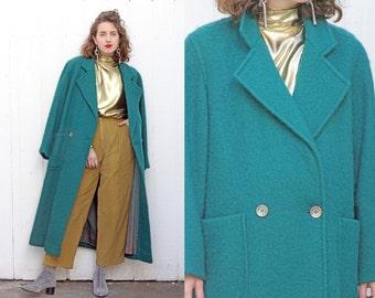 Vintage 80s Coat | 80s Long Wool Double Breasted Coat Teal | Medium M