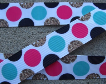 """3 yards Big Color Dots Polka Dots Printed Ribbon 7/8"""" Grosgrain Hair Bow Printed Ribbon"""