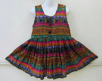 Vintage 80s 90s Boho AZTEC TRIBAL BABYDOLL Tunic Swing Top Blouse S / M