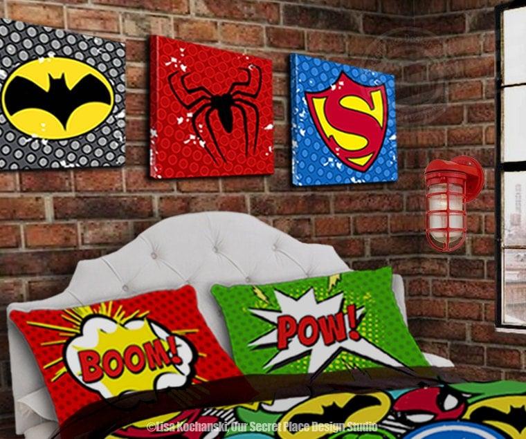 Boys Superhero Room Decor: Superhero Canvas Superhero Room Decor Superhero Decor For Boys