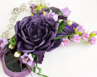 Handmade necklace with a violet rose