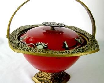 Jerusalem Pot Bowl Israel Red Enameled Tobacciana Smoke
