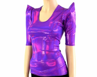 Grape Holographic Scoop Neck Sharp Shoulder Half Sleeve Full Length Spandex Top - 154217