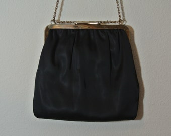 Black Clutch Retro Mod Satin Cocktail Purse Handbag