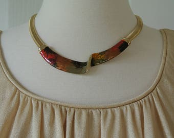 Art Deco Chocker Enamel Pendant  Abstract gold Tone Cleopatra Necklace
