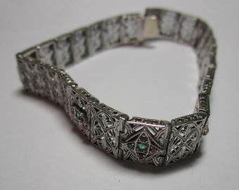 Ladies antique style sterling filigree emerald and fire opal bracelet