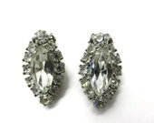 Weiss Bridal Earrings - Vintage Oval Rhinestone Clip on Earrings