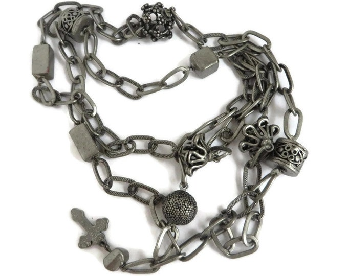 Vintage Pewter Chain Link Necklace, Beaded Pewter Necklace with Cross, Christmas Gift