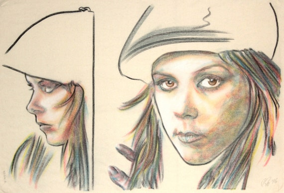 Original hand drawn portrait of Kirsty MacColl, in charcoal and pastel on calico