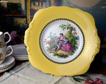 Vintage Barlows Longton Ltd Melbar Ware England Courting Couple Scene Romantic Atmosphere Yellow Cake Square Plate