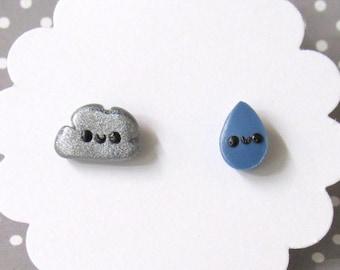 Rain Cloud Earrings, Cute Earrings, Silver Cloud, Stud Earrings, Hypoallergenic Posts, Mismatch Earrings, Kawaii Earrings, Girls Earrings