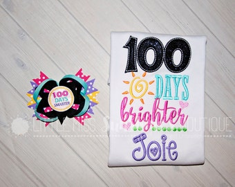 100 Days Brighter Girls Personalized Shirt, 100th day of school, 100 days of school shirt and bow set, 100 days brighter, 100 days smarter