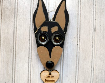 Doberman Ornament, Recycled Hand Made Doberman Pinscher, Min Pin, upcycled Ornament Brown and Rust Doberman