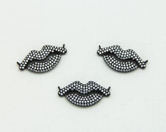 CZ Micro Pave 13x26mm Lip Shape Connector