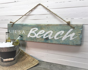Beach Sign, Life's A Beach Sign, Pallet Wood Sign, Rustic Sign, Distressed  Sign, Wedding Gift
