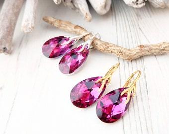 Sterling Silver 24k Gold Plated Swarovski Earrings-Teardrop Earrings-Swarovski Crystal Jewellery-Fuchsia Bridesmaids Dangle Drop Earrings