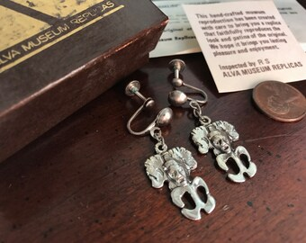 Vintage Silver Etruscan Revival Pixie Gremlin Screwback Earrings - Alva Museum Replicas  Fairy Faerie Protection - Island Corsica Corsican