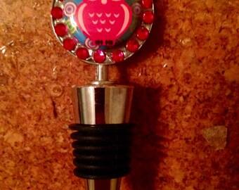 Whimsical owl bottle stopper