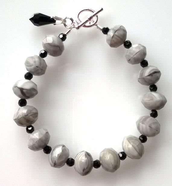 Gray Bracelet, Black Bracelet, Acrylic Bracelet, Boho Bracelet, Marbelized Bracelet