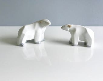 Vintage Mid Century White Ceramic Polar Bears, Mom and Cub / Mother's Day Gift / Modern Polar Bear Figurine Set of 2
