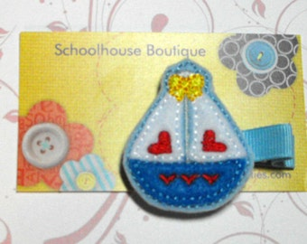 Sailboat Felt Hair Clips, Feltie Hair Clip, felt clippie, felt hair bow, felt hair clip, party favor
