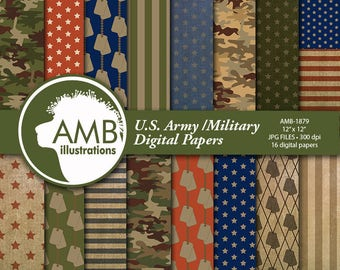 US Army Digital Paper, Army Theme Scrapbook, Military Scrapbook, Veterans Day, Army Backgrounds  AMB-1879