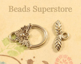 18 mm x 12 mm Antique Silver Flower Toggle Clasp - Nickel Free, Lead Free and Cadmium Free - 10 sets