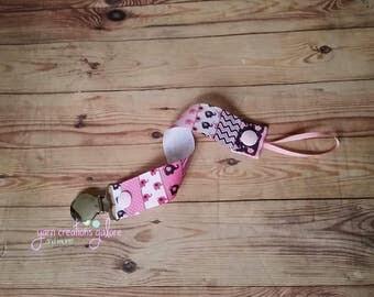 Pacifier Holder-- Elephant Pink Mix