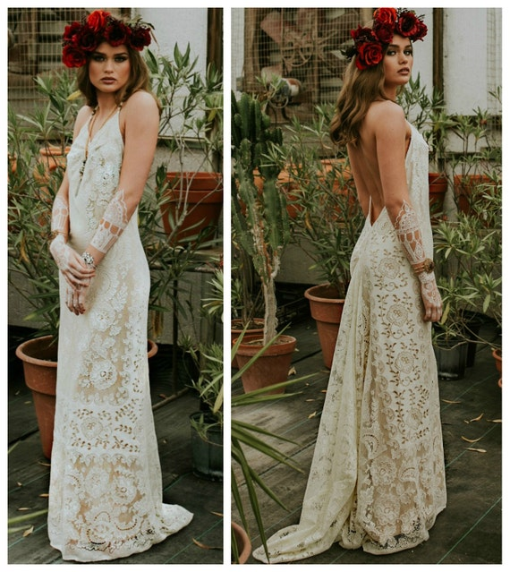 Wedding dress boho wedding dress lace wedding dress casual for Boho casual wedding dress