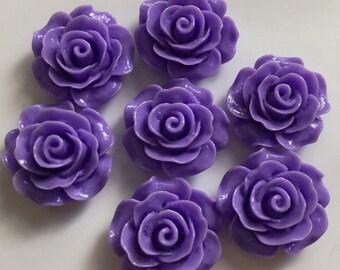 8 pcs 20 mm Dark Purple Cabochon Flowers.Violet Rose cabochon,Violet Resin Flower,20 mm Purple rose cabochon,flower kit,Lilac resin flower